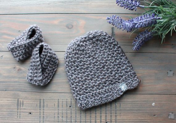 Addison Set: Newborn Beanie & Booties