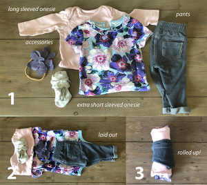 rolled-up outfit packing